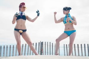 Crimson Viper vs Chun Li - Beach Edition by miss-gidget
