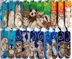 A rainbow of bookmarks - animal pyrography by BumbleBeeFairy