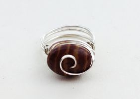Size 6 Brown Zebra Jasper Wire-Wrapped Ring by FaerieForgeDesign
