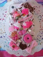 Pink and Chocolate iPhone 4 Decoden Case by lessthan3chrissy