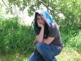 gray, and teal super deep crochet hood hat by SunFireDemon