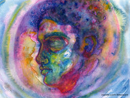 Watercolor Experimenting Portrait by kikoeart