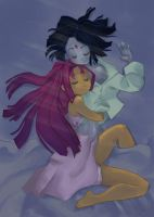 Starfire and Raven-- Sleepy by shimoyo