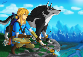 Link and Wolf Link, Zelda Breath of the Wild by Leordan