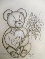 I love you bear with rose by JMCARTSNCRAFTS