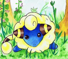 Mareep watercolor on canvas by LightningChaser