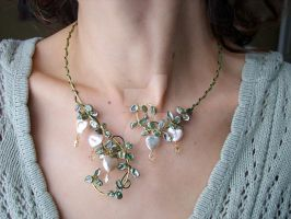 Bleeding heart Freshwater pearl necklace torque by FairyberryBlossoms