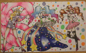 Custom Card Mat: Ahri, Sona, Rise by PrincessKilvas