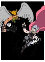 Hawkgirl vs Thor by OUC