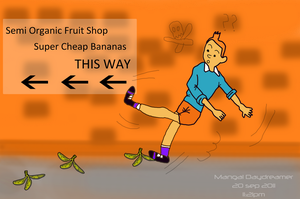 Tintin near the Banana Shop by sumangal16