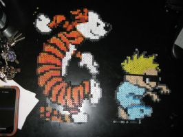 Perler Calvin and Hobbes Dancing by rushtalion