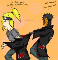 Tobi annoying Deidara by Moonlugia
