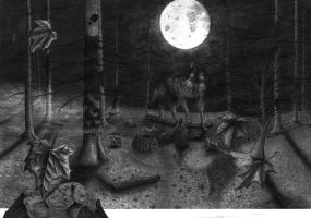 The princess, the wolves and the moon. by DavidLuna
