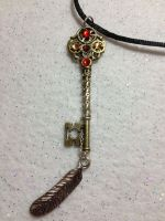 Antique Key with feather Red and Gold by AestheticSaturn