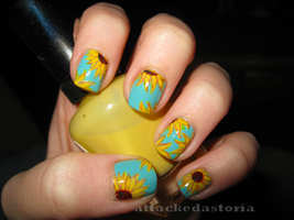 sunflower nails by xtheungodx