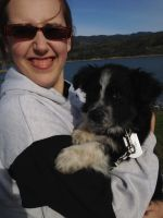 My Australian Shepherd, Asura and Me at the Lake by LittlePigArt