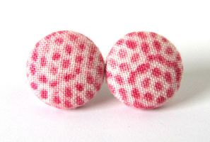 Pink dot stud earrings button bright romantic by KooKooCraft
