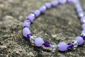 Purple Crystal Bead Necklace by Clerdy