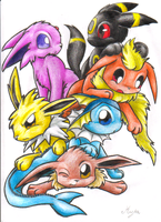 Overload of eeveelutions by Kyrara
