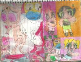 Ren and Stimpy and PPG by RozStaw57