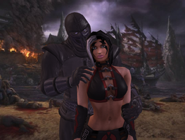 Noob Saibot and Sareena by dim1988