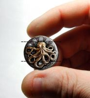 Steampunk Octopus Designer Glass Cabochon by Create-A-Pendant