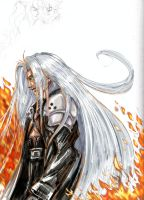 Sephiroth Sketch-in color (2005) --colored in 2013 by La-Nora