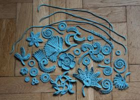 Irish crochet motivs - blue by BramboraCzech