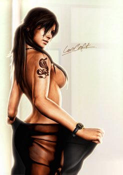 Lara Croft at Home by FearEffectInferno