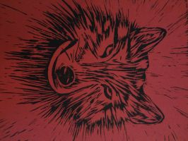 lino block print: Wolf by aliciagailstewart