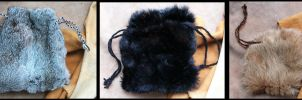 New fur drawstring pouches by lupagreenwolf