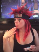 Red Spikey Wig Girl Again by LauraOfTheSand