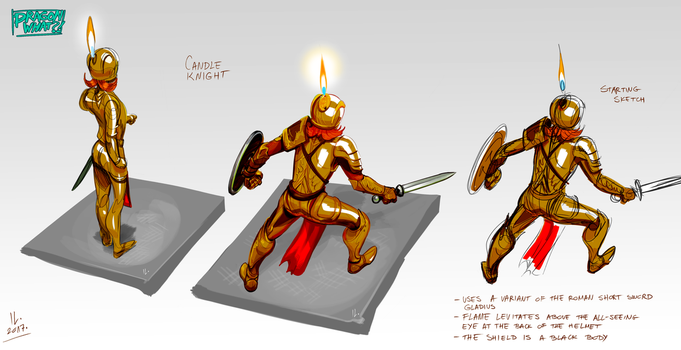 Candle Knight concept art sheet by Ikleyvey