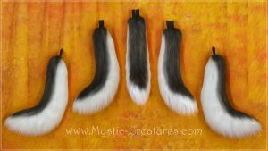 Wolftail in Charcoal and White. Premium fur. by Mystic-Creatures