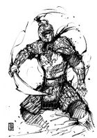 Ink Sketch of Chinese warrior by MyCKs