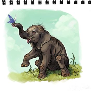 Baby indian elephant by Kaek