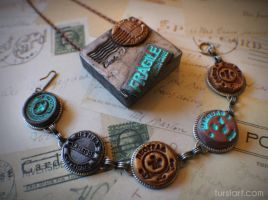 Postmarked themed Bracelet and Necklace set by tursiart