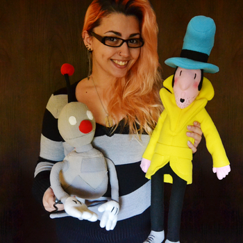 Detective Case and Clown Bot Plushies by TheDarkLittleBunnY