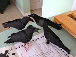 Mob of felt crows by Bwabbit