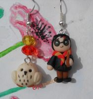 Harry Potter and Edwige earring by Elfetta2007