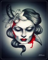 dead head with dagger tattoo flash by oldSkullLovebyMW
