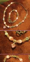 Pink Heart Necklace and Bracelet Set by Windthin