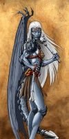 Half Dragon Drow Female Psion by LazarusReturns