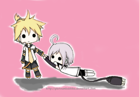 Len and Piko - Chibi by PlatinumBubbles