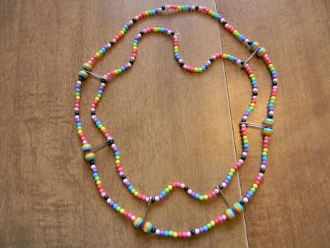Layered Safety Pin Rainbow Bead Necklace by BlackVeilPride