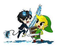 Rin vs Link by FairyKitsch