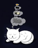 A cat dreaming of a cat by Lish0ffs