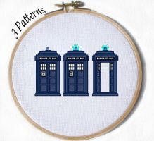 Tardis Cross stitch Pattern Dr Who by JuliefooDesigns