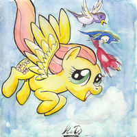 Fluttershy Watercolor by kittyhawk-contrail