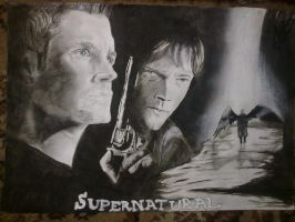 Black n White Painting Of Winchester Bros. by CeNa-Fan